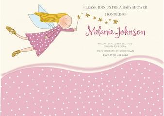 Reizende Babyparty-Kartenschablone mit goldenen glitzernden Details