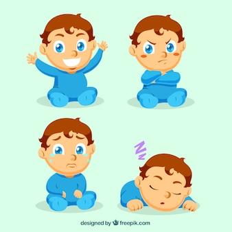 Reizender kleiner Junge mit verschiedenen Ausdrücken