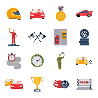 Rennen Wettbewerb Icon-Set