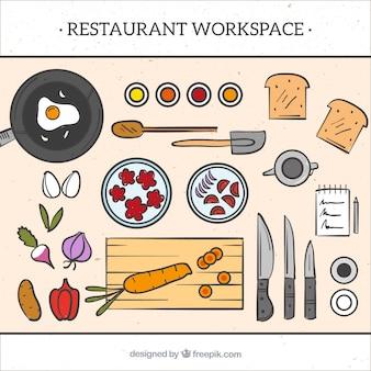 Restaurant Arbeitsbereich Hintergrund