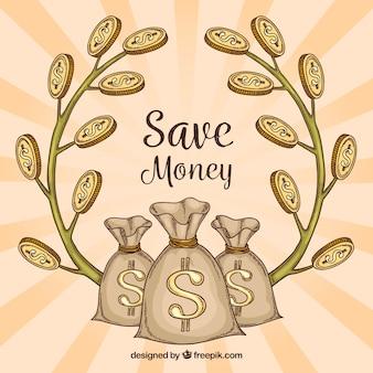 Retro Hintergrund der Geld Taschen und Zweige mit Münzen