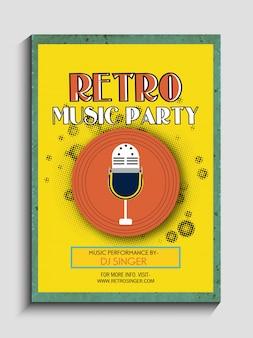 Retro Musik-Partyfeierweinleseflieger, Fahnen- oder Schablonenentwurf.