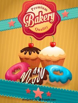 Retro-Plakat Bäckerei