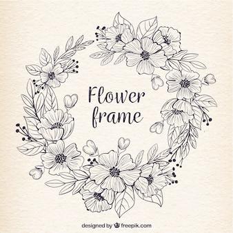 Retro Rahmen der Hand gezeichneten Blumen