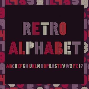 Retro Streifen flippige Schriftarten settrendy elegante Retro-Stil Design auf nahtlose Muster mit Zahlen Vector design