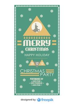 Retro Weihnachtsfeier Flyer mit einem Schneeflocken-Hintergrund