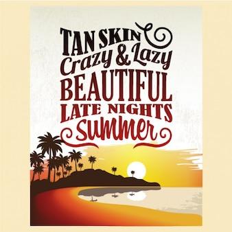 Retro Weinlese-Sommer-Plakat-Entwurf