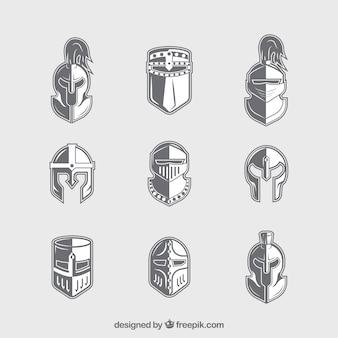 Ritterhelme mit flachem Design