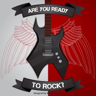 Rock Gitarrenhintergrund mit Flügel Skizzen