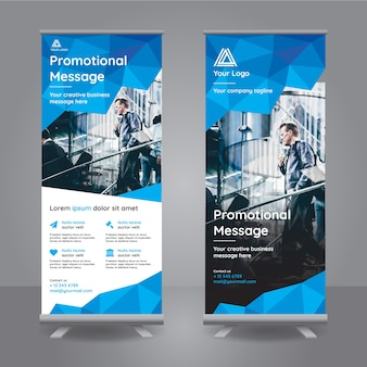 Roll-up-Banner mit blauen polygonalen Formen