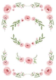 Rosa Blumenelemente Sammlung