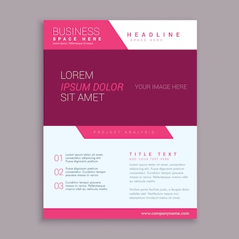 Rosa Broschüre Flyer Design-Vorlage in geometrische Form