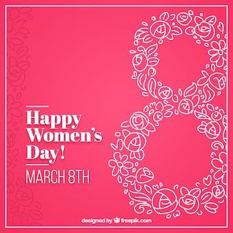 Rosa Hintergrund mit floralen Skizzen der Frau des Tages