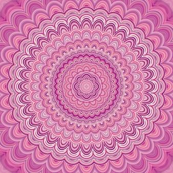 Rosa Mandala Fraktal Ornament Hintergrund - Runde symmetrische Vektor-Muster Grafik-Design aus konzentrischen Ellipsen
