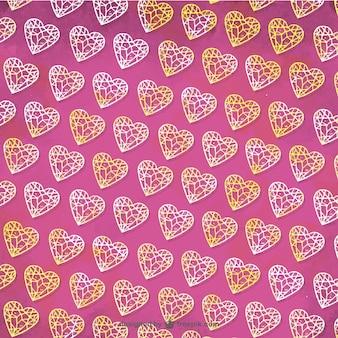Rosa Muster von Diamanten in der Hand gezeichneten Stil
