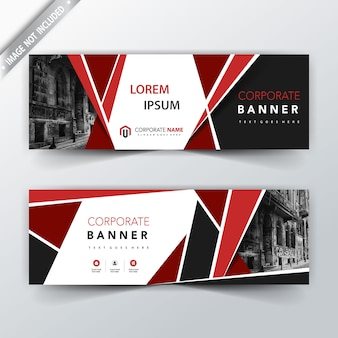 Rote origami Form Banner Header Vorlage