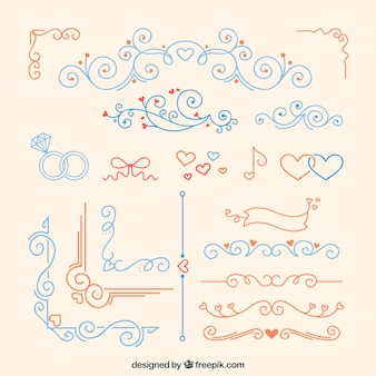 Rote und blaue Hochzeitsornamente
