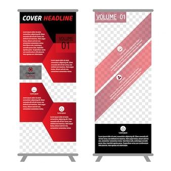 Rotes Farbgeschäft rollen oben. Standee Design. Banner Vorlage. Präsentation und Broschüre Flyer. Vektor-Illustration