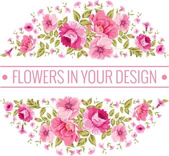Rund Hintergrund mit rosa Blüten