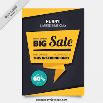 Sale-Broschüre mit einer Origami-Sprechblase