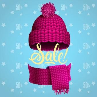 Sale-Poster mit Hut und Schal