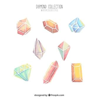 Sammlung von Aquarell Diamanten