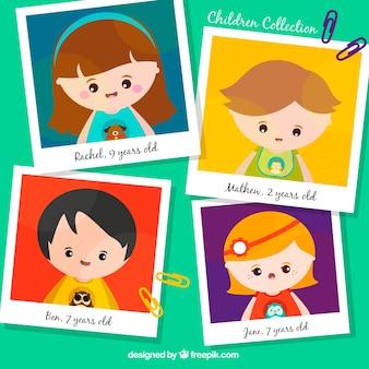 Sammlung von Bildern mit glücklichen Kindern