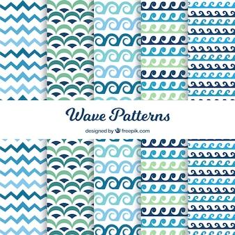 Sammlung von blauen und grünen Wellenmustern