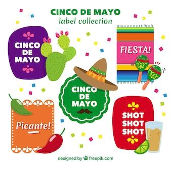 Sammlung von bunten Aufklebern von cinco de Mayo