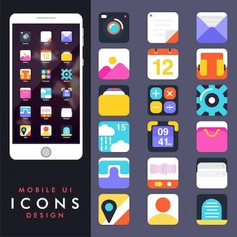 Sammlung von bunten Icons für Handys