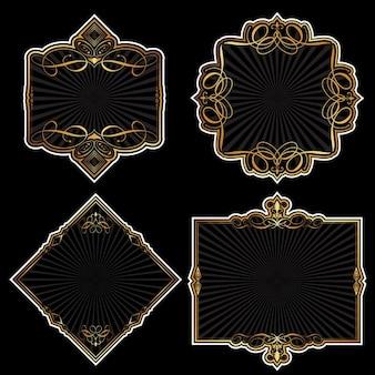 Sammlung von dekorativen detaillierten Goldrahmen