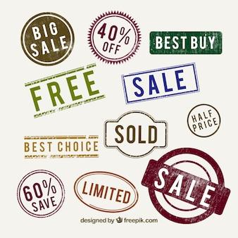 Sammlung von dekorativen Verkaufsmarken