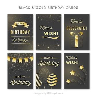 Sammlung von eleganten goldenen Geburtstagskarte