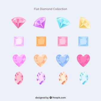 Sammlung von farbigen Diamanten