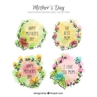 Sammlung von farbigen Etiketten mit Blumen für Muttertag