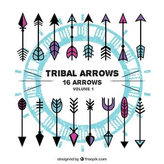 Sammlung von farbigen Pfeile Stammes