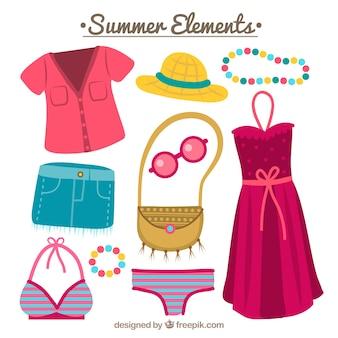 Sammlung von farbigen Sommerzubehör