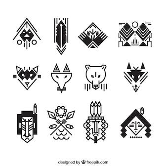 Sammlung von flachen ethnischen Elementen für Logos