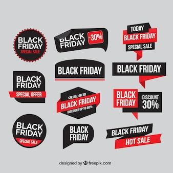 Sammlung von flachen schwarzen Freitag Aufkleber