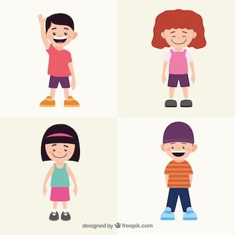 Sammlung von glückliche Kinder mit bunten Kleidern
