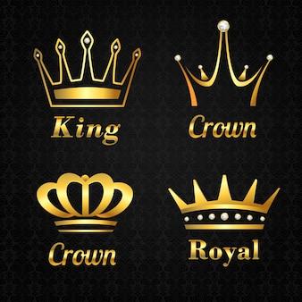Sammlung von goldenen Kronen