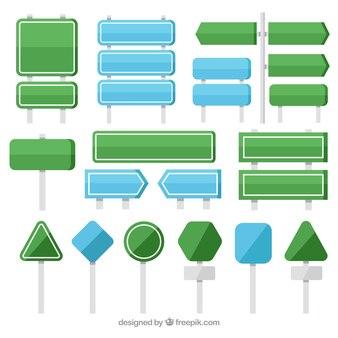 Sammlung von grün und blau Zeichen in flachen Design