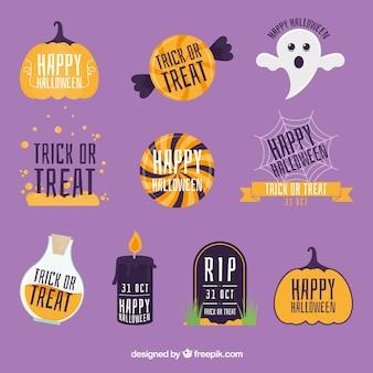 Sammlung von Halloween-Aufkleber mit Nachrichten