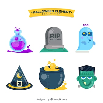 Sammlung von Halloween-Objekten und Charakteren in flachem Design