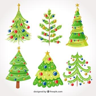 Sammlung von Hand gezeichneten Weihnachtsbaum mit schönen Dekoration