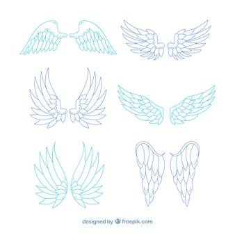 Sammlung von handgezeichneten Flügeln