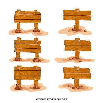Sammlung von handgezeichneten Holzschilder