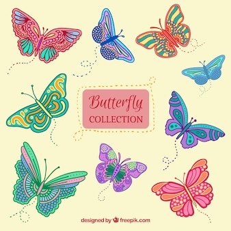 Sammlung von handgezeichneten Schmetterlinge