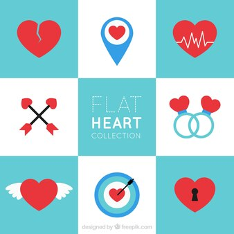 Sammlung von Herzen in flachem Design