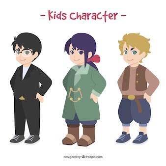 Sammlung von Kindern mit verschiedenen Arten von Kleidung
